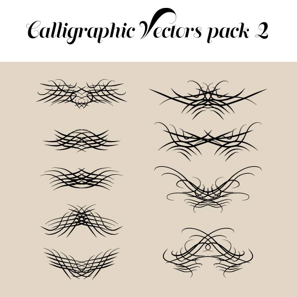 Free Calligraphic Vectors pack 2